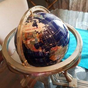 "Gemstone Brass Stand Rotating World Globe 15"""